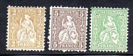 321/1500 - SVIZZERA 1881 , Unificato N. 49+50+54  ***  MNH  Fili Seta - 1862-1881 Helvetia Assise (dentelés)