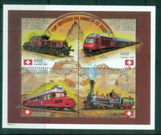 Niger 1997 Early Locomotives, Train, Flag MS MUH - Niger (1960-...)