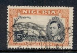 Nigeria 1938-51 KGVI Pictorial 5/- Niger At Jebba Perf 13x11.5 FU - Nigeria (1961-...)