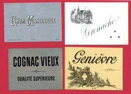 Lot De 4 Belles étiquettes Chromolithographie Lith. Viellemard & Ses Fils, Genièvre, Grenache, Rhum Martinique, Cognac - Rhum