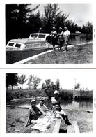 2 Photos Originales Haut Les Mains, Peau De Lapin, Les Grands-Mères En Maillot De Bain (1961) Canaux & Pique Nique - Pin-ups