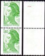 France Roulette N° 2191 **, Liberté De Gandon - Le 1f40 Vert En Paire - Roulettes