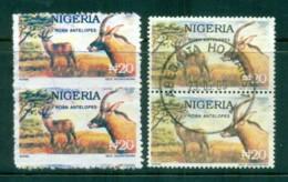 Nigeria 1992-92 Postal Forgeries, Antelope Pair With Genuine For Comparison FU - Nigeria (1961-...)