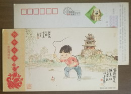 Children Playing Peg-top Game,childhood,China 2006 Zhejiang Post Lunar New Year Of Dog Year Greeting Pre-stamped Card - Childhood & Youth