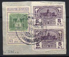 SIAM ( POSTE ) : Y&T N°  184  ET  226  SUR  FRAGEMENT  TRES  BIEN  OBLITERES  . - Siam