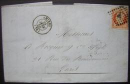 1856 Filature D'Ailly Cachet à Date D'Amiens (Somme) N°16 Oblitéré Pc 65 Sur Losange - Marcophilie (Lettres)