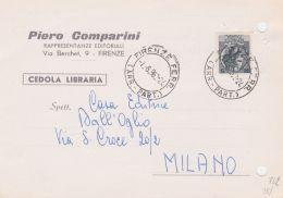 1962 SIRACUSANA £.5 Isolato Su Cedola Commissione Libraria Firenze (7.6) Fori Archivio - 1961-70: Storia Postale