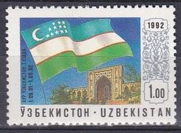 Usbekistan Uzbekistan 1992 Geschichte History Unabhängigkeit Independence Fahnen Flaggen Flags Taschkent, Mi. 3 ** - Usbekistan