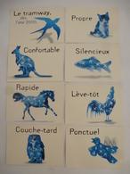 MONTPELLIER : PUBLICITE ANIMAUX  Cartes Communication Tramway De Montpellier Ligne 1 - Lot De 8 Cartes - Voir Les Scans - Publicité