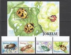 D434 1998 TOKELAU FLORA & FAUNA INSECTS BEETLES 1BL+1SET MNH - Insekten