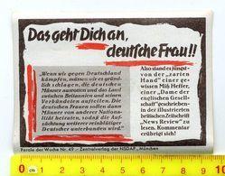 Orginal NSDAP-VIGNETTE # * Das Geht Dich An,deutsche Frau *#, Propaganda-dokument Allemand,3.Reich - Dokumente