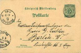 Entier Postal -  Ganzsachenumschlag 5 Pfennig Württemberg 1893 - Wurtemberg