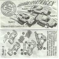 KINDER LEGENDÄRE RENNWAGEN D 1992 MODELL 2  BPZ 657107 - Handleidingen