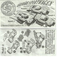 KINDER LEGENDÄRE RENNWAGEN D 1992 MODELL 2  BPZ 657107 - Instructions