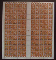 FEUILLE COMPLETE NEUF ** De 100 TIMBRES SEMEUSE N° 279B 1c BISTRE-BRUN COIN DATÉ 27.1.37 (VARIÉTÉS) - Hojas Completas