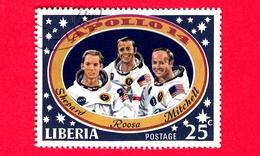 LIBERIA - Usato - 1971 - Viaggi Nello Spazio - Allunaggio Dell'Apollo 14 - Astronauti  - Apollo 14 Moon Landing - 25 - Liberia
