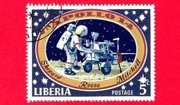 LIBERIA - Usato - 1971 - Viaggi Nello Spazio - Allunaggio Dell'Apollo 14 - Astronauti  - Astronaut And Lunar Transport V - Liberia