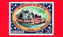 LIBERIA - Usato - 1971 - Viaggi Nello Spazio - Allunaggio Dell'Apollo 14 - Astronauti  - Astronauts Leaving Capsule - 20 - Liberia