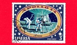 LIBERIA - Usato - 1971 - Viaggi Nello Spazio - Allunaggio Dell'Apollo 14 - Astronauti  - Astronauts On The Moon - 3 - Liberia