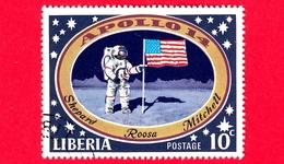LIBERIA - Usato - 1971 - Viaggi Nello Spazio - Allunaggio Dell'Apollo 14 - Astronauti  - Astronauts With US Flag On Moon - Liberia