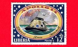 LIBERIA - Usato - 1971 - Viaggi Nello Spazio - Allunaggio Dell'Apollo 14 - Astronauti  - Space Capsule In Pacific Ocean - Liberia