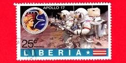 LIBERIA - Usato - 1973 - Viaggi Nello Spazio - Apollo 17 - Astronauti  - Astronauts On The Moon - 25 - Liberia
