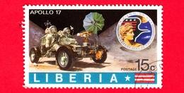 LIBERIA - Usato - 1973 - Viaggi Nello Spazio - Apollo 17 - Astronauti  - Moon Ride - 15 - Liberia