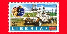 LIBERIA - Usato - 1973 - Viaggi Nello Spazio - Apollo 17 - Astronauti  - Vehicules Testing On The Earth - 3 - Liberia