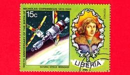 LIBERIA - Usato - 1973 - 500 Anni Della Nascita Di Niccolò Copernico - Astronomia - Apollo Saturn - 15 - Liberia