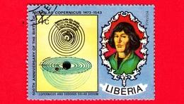 LIBERIA - Usato - 1973 - 500 Anni Della Nascita Di Niccolò Copernico - Astronomia - Solar System And N. Copernicus - 4 - Liberia