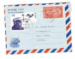 India AEROGRAMME TO Austria 1978 - Rhinozerosse