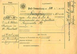 Mandat Postal - Post Anweisung 50 Fl, Cachet Commando Zu Wiener Neustadt - 1890 K Und K Commando Des Infanterie - Germany