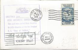 ESTADOS UNIDOS USA 1934 EXPEDICION ANTARTIDA RICHARD BYRD ANTARCTIC MAT BASE LITLE AMERICA RODILLO , MARCA DEL BUQUE CON - Expediciones Antárticas
