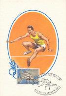 D35103 CARTE MAXIMUM CARD TRIPLE 1967 GREECE - ATHLETICS HURDLES CP ORIGINAL - Athletics