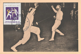 D35105 CARTE MAXIMUM CARD 1960 YUGOSLAVIA - FENCING ESCRIMÉ - OLYMPIC RINGS CP ORIGINAL - Fencing