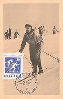 D35106 CARTE MAXIMUM CARD 1960 YUGOSLAVIA - SKIING - OLYMPIC RINGS CP ORIGINAL - Skiing