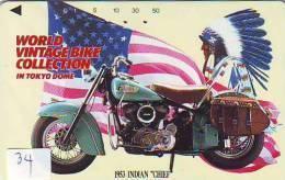 MOTOR Telecarte * INDIAN CHIEF 1953 * Japon (34)  Motorbike * HARLEY DAVIDSON *  Phonecard Japan * Telefonkarte - Motorbikes