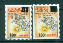 Senegal 1992 Popes Visit, Opt Vars MLH Lot73579 - Senegal (1960-...)