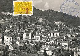 D35113 CARTE POSTAL POSTCARD 1963 SWITZERLAND - COMMUNE DE MONTHEY - STAMP ON FRONT - EUROPA CEPT CP ORIGINAL - Europa-CEPT