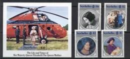 Seychelles 1985 Queen Mother 85th Birthday + MS MUH - Seychelles (1976-...)