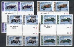 Seychelles 1985 Vintage Cars Gutter Blk4 MUH - Seychelles (1976-...)