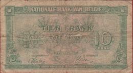 10 Frank 1943 Tien Koninkrijk Royaume De Belgie Belgique Belgium Dix Francs 2 Twee Deux Belgas Bankbiljet Banknote - [ 2] 1831-... : Royaume De Belgique