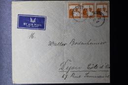 Palestine:  Airmail Cover Tel Aviv  To Cote D'Or 1936 Strip Of 3 - Palestine