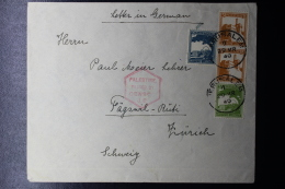 Palestine:  Airmail Cover Jerusalem To Zürich  Mixed Stamps 1940  Censor - Palestina