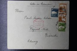 Palestine:  Airmail Cover Jerusalem To Zürich  Mixed Stamps 1940  Censor - Palestine