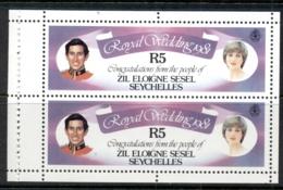 Seychelles ZES 1981 Royal Wedding Charles & Diana Booklet Pane 5r MUH - Seychelles (1976-...)