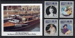 Seychelles ZES 1985 Queen Mother 85th Birthday + MS MUH - Seychelles (1976-...)
