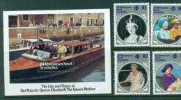 Seychelles ZES 1985 Queen Mother 85th Birthday + MS MUH Lot30462 - Seychelles (1976-...)