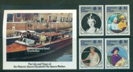 Seychelles ZES 1985 Queen Mother 85th Birthday + MS MUH Lot55396 - Seychelles (1976-...)