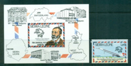 Sierra Leone 1984 UPU Congress Hamburg + MS MUH Lot59474 - Sierra Leone (1961-...)